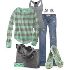 Gray and Mint by fun-to-wear on Polyvore featuring Hollister Co., chissene, Fat Face and Mossimo