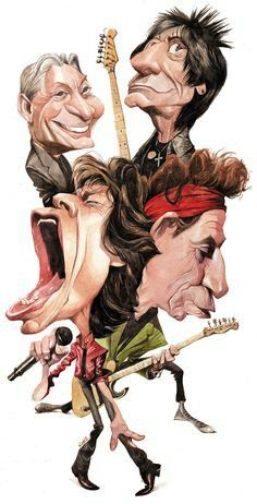 The Rolling Stones Caricature Artist, Caricature Drawing, Funny Caricatures, Celebrity Caricatures, Cartoon Kunst, Cartoon Art, Cartoon Faces, Funny Faces, Los Rolling Stones