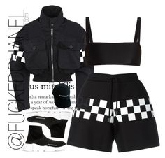 """All black"" by fuckedchanel ❤ liked on Polyvore featuring Dsquared2, Balenciaga and Matteau"