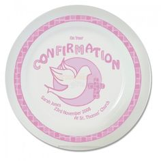 Personalised Confirmation Plate - Pink or Blue :: Shop now with Next Day Dispatch option. Personalized Plates, Confirmation Gifts, First Holy Communion, Gift Store, Kid Names, Gifts For Him, Decorative Plates, Best Gifts, Tableware