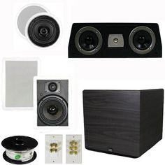 "5.1 Home Theater 4 Speaker Set with Center, 15"" Powered Sub and More TS5C6WC51SET8 by Theater Solutions. $403.99. Specifications2 TS50C In Ceiling/Wall Speakers5.25"" Woven Kevlar Driver with 50-20,000 Hz Range200 Watts RMS and 400 Watts Max per pair92dB SensitivityCut Out Size is 6.875""Overall Measurement is 8.375""Mounting Depth is 2.25""2 TS65W In Ceiling/Wall Speakers6.5"" Woven Kevlar Driver with 32-20,000 Hz Range200 Watts RMS and 400 Watts Max per pair93dB SensitivityWall..."