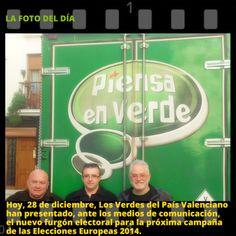 Hoy, 28 de diciembre, Los Verdes del País Valenciano han presentado, ante los medios de comunicación, el nuevo furgón electoral para la próxima campaña de las Elecciones Europeas 2014.