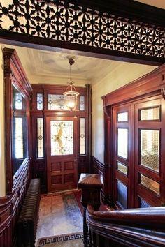 Gates Avenue Brooklyn brownstone Victorian interior style woodwork foyer by Victorian Interiors, Victorian Decor, Victorian Homes, Brownstone Interiors, Victorian Interior Doors, Victorian Gothic, Townhouse, Home Interior Design, Interior Styling
