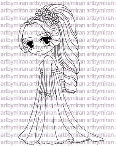 Digi Stamp Serenade Pretty Girl Coloring page Big eyed girl