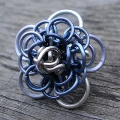 Dahlia Chainmaille Ring Size 7.5 Steel Grey OOAK Made By Amanda Bead and Button June 2010. $10.00, via Etsy.