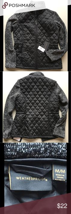 "🆕WEATHERPROOF M quilted jacket with knit sleeves NEW WITH TAGS! ""WEATHERPROOF"" brand Black quilted jacket Zipper closure Black and white knit sleeves and collar Size Medium Figure flattering elastic on sides of waist Weatherproof Jackets & Coats"