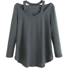 Dark Gray V Neck Cold Shoulder Long Sleeve T-shirt ($27) ❤ liked on Polyvore featuring tops, t-shirts, long sleeve v neck t shirts, open shoulder top, v-neck tops, longsleeve t shirts and v neck tee
