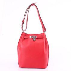 Hermes Red Bucket Shoulder Bag