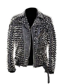 Mens Silver Studded Leather JACKET Biker Long Spike Brando Belted Zipper Christmas Party Wear XS to Size Available handmade Stuff Studded Jacket made with 100 % Genuine Top Quality Cowhide Leather Long Spiked and Studded Used Each S. Studded Leather Jacket, Biker Leather, Suede Leather, Leather Men, Cowhide Leather, Leather Jackets, Leather Shoes, Biker Jackets, Custom Leather