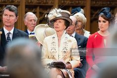 Sir Timothy Laurence, Princess Anne, Princess Royal and Princess Eugenie attend a lunch after the National Service of Thanksgiving as part of the 90th birthday celebrations for The Queen at The Guildhall on June 10, 2016 in London, England.