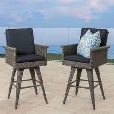 Outdoor Wicker Barstool W/ Cushion Home Patio Porch Deck Garden Set Of 2 NEW  #nonbranded