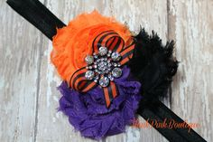 Adorable Halloween baby headband in black purple by ThinkPinkBows, $8.95