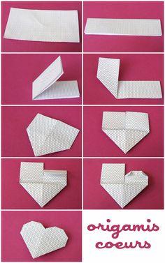 Voici un rapide origami à faire avec des papiers à motifs (ou même des papiers unis !) Il s'agit de marque-page en forme de coeurs et que l'on glisse sur le coin d'une page d'un livre. A faire pour la St Valentin, mais pas que ! Pour chaque coeur, vous aurez besoin d'un demi carré (vous pouvez couper en deux des carrés de papier spécial origami ou bien couper dans du joli papier un rectangle de 12,6 cm sur 6,3)  Pliez le rectangle en deux, dans le sens de la longueur :  Repliez en...