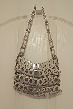 60s 70s Space Age Metal Disc Handbag 1960s 1970s Paco Rabanne Inspired Silver Metal Shoulder Bag w/ Cutouts Vintage French Metal Disk Purse