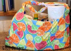 Making your own DIY grocery bags for trips to the market is a must-make project that will stay with you from years to come. There is absolutely no reason to waste resources on plastic and paper bags that always rip and tear when you can sew this adorable Summer Fruit DIY Grocery Bag.