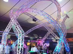 Trussing at the NAMM show in the arena lighting area - okay now this is a little silly. Dj Stage, Stage Set, Stage Backdrops, Namm Show, Dj Setup, Dj Booth, Booth Ideas, Tours, Lighting