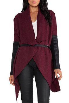 Ericdress Asymmetric Lace-Up Patchwork Coat Coats Gilet Long, Purple Coat, Tweed Coat, Wrap Coat, Belted Coat, Trendy Tops, Long Cardigan, Belted Cardigan, Sweater Jacket