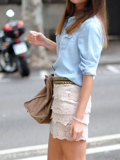 Chambray + lace. I love this, but you need to have no BUTT to pull this off. I'm not one of these people.