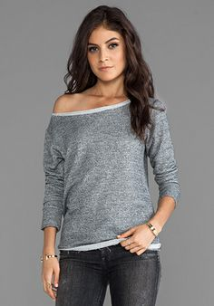 Whetherly French Terry Flash Dance Top in Charcoal