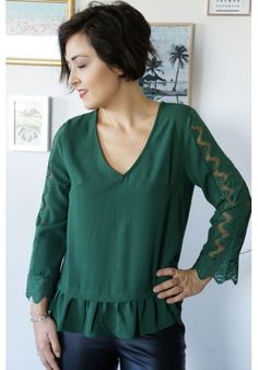 great fit new arrive undefeated x Blouse Jade | Collection Printemps-Ete 2019 | Ruffle blouse ...