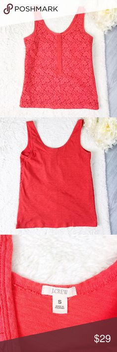 Red/Orange J. Crew Lace Tank Top Red/Orange J. Crew Lace Tank Top Size S Excellent Used Condition! Cute lace detailing on the front! Covered buttons halfway down the front!  Feel free to ask for measurements!  MAKE AN OFFER! J. Crew Tops Tank Tops