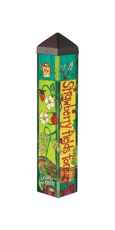 the Lyric Project Strawberry Fields Forever Garden Art Pole with Lyrics from Lennon and McCartney Painted Chairs, Hand Painted Furniture, Cool Woodworking Projects, Wood Projects, Teds Woodworking, Outdoor Projects, Peace Pole, Strawberry Fields Forever, Garden Poles