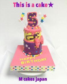 元気で可愛いカラフル 2段お誕生日ケーキ #カラフル #ケーキ #誕生日ケーキ #5歳 #cakedecorating
