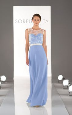 Stunning full length sky blue bridesmaid dresses feature a lace illusion neckline. Exclusive designer blue bridesmaid dresses by Sorella Vita.