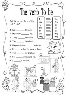 Exercise For Beginners Verb To Be (Affirmative) - This is the second worksheet for beginners. Here you'll find 9 simple sentences. Verb to be is used with the corresponding pronouns (I, you, he-she-it, they, we). English Primary School, English Grammar For Kids, Teaching English Grammar, English Verbs, Kids English, English Classroom, English Language Learning, English Vocabulary, Learn English