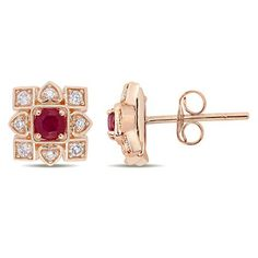 Mothers Day Jewelry Gifts: Everly Diamond & Ruby Stud Earrings in Rose Gold Mens Diamond Stud Earrings, Ruby Earrings, Rose Gold Earrings, Diamond Studs, Gold Necklace, Ruby Jewelry, Birthstone Jewelry, Jewelry Gifts, Gold Jewelry