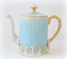 Rare Vintage French Porcelain Teapot, Coffeepot, Gradient Light Blue Porcelain, Textured White and Gold Decor