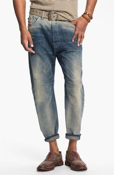 DIESEL® 'Narrot' Cropped Slouchy Tapered Leg Jeans (0811A) available at #Nordstrom