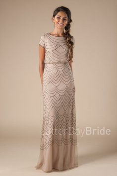 modest prom dresses with high necklines and beading, pop over top, the Cleo with beading