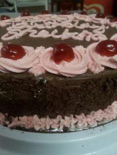 Chocolate Cake with Chocolate Buttercream Icing n Cherries