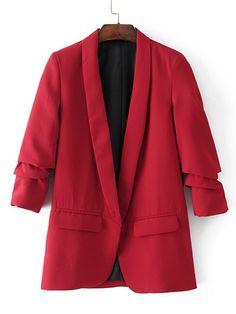 Ruched Sleeve Shawl Collar Tailored Blazer | SHEIN