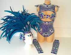 Blue Bodysuit Covered up Samba Costume