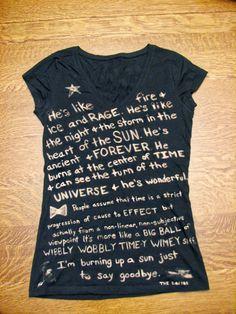 Doctor Who Tshirt (Fandom) Quote Bleached, Custom Made. $22.00, via Etsy.