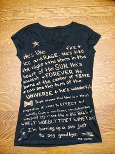 Doctor Who Tshirt (Fandom) Quote Bleached, Custom Made. $20.00, via Etsy.