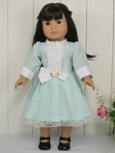 "Light Blue Party Dress fits 18"" American Girl Doll Clothes"
