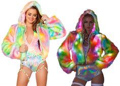 Rainbow Light-up Crop Jacket Rave Clothing, Festival Clothing, Festival Outfits, Rainbow Light, Future Fashion, Rave Outfits, Burning Man, Concert, Awesome