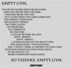 I was in an empty gym before a tournament once. I didn't do this, although it is inspiring. Me, I lied down out in the center of the court lol. Then someone walked in and thought I was crazy. Oops.