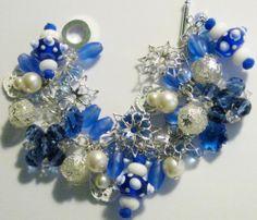 Snowflake And Blue Winter Charm Bracelet Handcrafted OOAK eBay