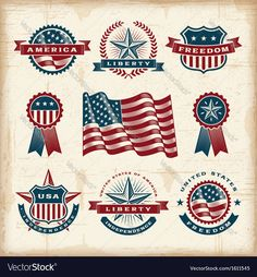 Vintage american labels set Vector Image by iatsun