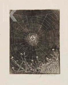 Kruisspin in zijn web, Jan Mankes sept 1916 Rijksprentenkabinet Amsterdam