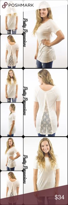 """NWT Ivory Split Lace Inset Top NWT Ivory Split Lace Inset Top   Available in sizes: S, M Measurements taken in inches from a size small:  Length: 30"""" Bust: 30"""" Waist: 28""""  Measurements taken unstretched   Features • split floral lace inset at back • short sleeves  • super soft, breathable material w/stretch • easy regular fit   Bundle discounts available  No pp or trades   Item # 1/106140340ILT crochet lace t-shirt top white short sleeve tunic Pretty Persuasions Tops"""