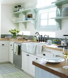 Farmhouse Kitchen Butcher Block Counters Painted One Side Of Cabinets White Cottage Kitchens