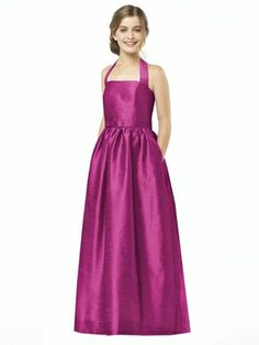 Dessy Collection Junior Bridesmaid style JR 503 is the Junior version of style D483 halter full length peau de soie dress with matching skinny belt and pockets at side seams of full skirt. Also available cocktail length as style JR502.