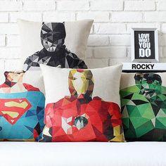 "America Super Heroes Squares Linen Pillow Case Cotton Cushion Cover Sham 18""x18"" in Home & Garden, Home Décor, Pillows | eBay"