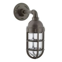 Atomic Topless Industrial Guard Sconce, 600-Bronze   TGG-Heavy Duty Cast Guard, CLR-Clear Glass trashcan area?