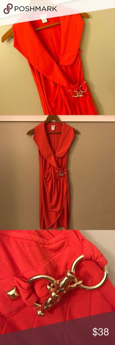 Cache Orangey/Red Dress Size Small Orangey/Red Dress from Cache. Accented with thick collar and gold buckle. Form fitted. EUC. Size Small. Cache Dresses Midi